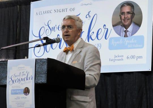 Author Bill Haltom speaks at the Books of Madison County: Sweet Tea & Seersucker on Monday.