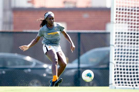 Tennessee Soccer player Michelle Alozie shoots the ball during practice in Knoxville, Tennessee on Tuesday, August 20, 2019. Alozie is a graduate transfer student from Yale.
