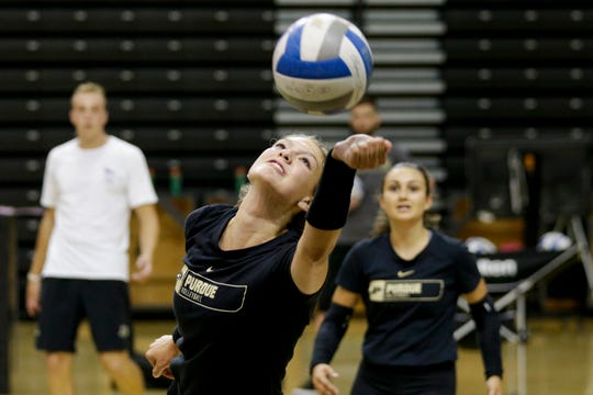 Purdue outside hitter Maddy Chinn (5) reaches out to return the ball during a practice, Monday, Aug. 19, 2019 at Purdue University's Holloway Gymnasium in West Lafayette.