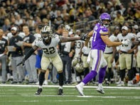 Aug 9, 2019; New Orleans, LA, USA; New Orleans Saints defensive back Chauncey Gardner-Johnson (22) defends against Minnesota Vikings tight end Cole Hikutini (87) during the second half at the Mercedes-Benz Superdome. Mandatory Credit: Derick E. Hingle-USA TODAY Sports