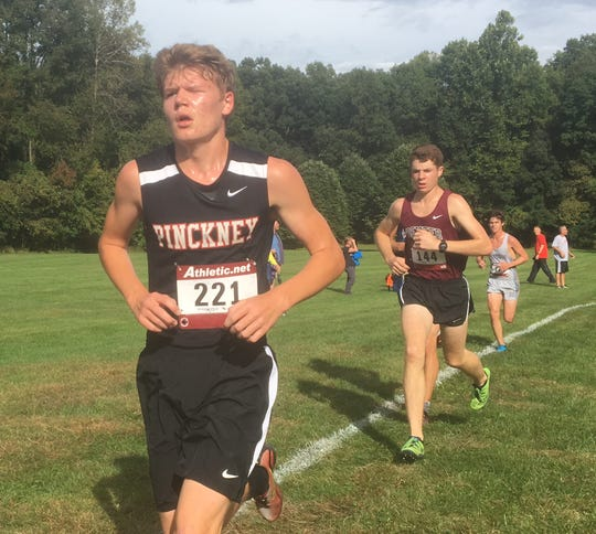 Andrew Etherington (221) is one of two returning all-county runners for Pinckney.