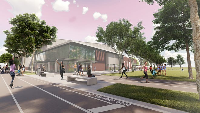 SLC rendering of the outside of Louisville Urban League's planned sports and learning complex, which will include an indoor track.