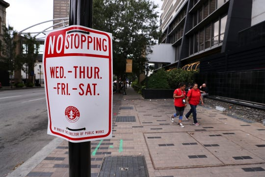 No Stopping signs have been placed along Main Street near the Galt House hotel.  President Trump will be visiting Louisville and making a speech on Wednesday.