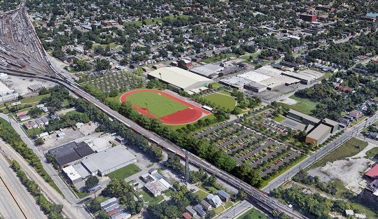 Rendering of the Louisville Urban League's planned track and field in western Louisville at 30th and Muhammad Ali.