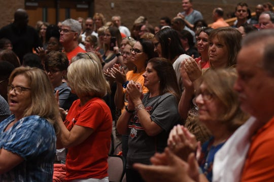 Mansfield City Schools employees met Tuesday morning and listened to Jim Tressel and new superintendent Stan Jefferson speak.