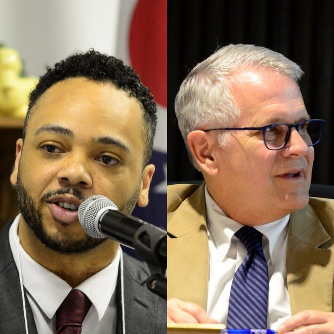 Don Bryant, city councilman at-large, left, and Tim Theaker are scheduled to appear at The Renaissance Theatre on October 17 for a debate.