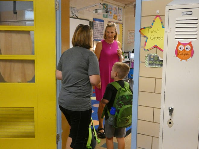 A student going to class at Ridgedale Local Schools.