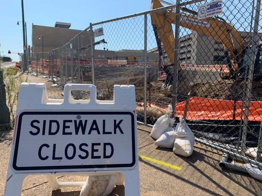 A sidewalk near the One Beale Street project is closed for construction Aug. 20, 2019.