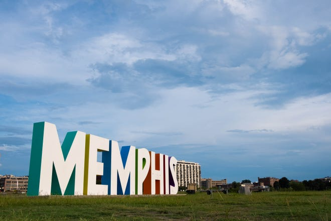 The Memphis sign on mud island, with the city's skyline featured in the background, Sunday evening, August 18, 2019.