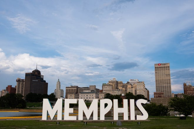 The Memphis sign on Mud Island, with the city's skyline featured in the background, Sunday evening, Aug. 18, 2019.