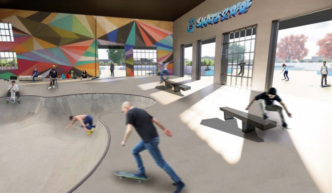 Concept designs for a proposed skatepark in Greenfield show an indoor-outdoor facility that pays homage to the beloved former Turf skatepark, which closed in 1996.