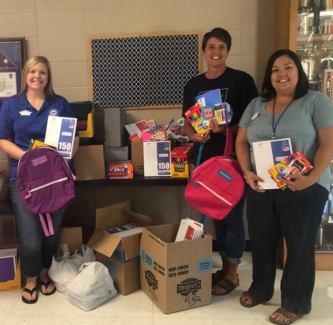 Junior Auxiliary of Mountain Home recently presented over 2,500 school supply items to Cotter Public Schools. Community donations at Junior Auxiliary's annual Stuff the Bus event allowed for the local chapter to purchase backpacks and additional supplies for students across Baxter County.