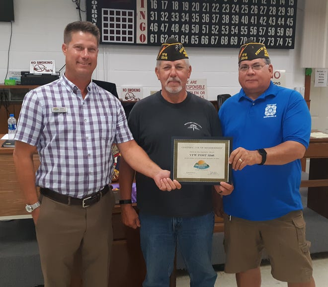 The Mountain Home Area Chamber of Commerce recently inducted the VFW Ozark Post #3246.Pictured are (from left): Erric Totty, VFW Ozark Post 3246 Commander Ronnie Youngand Senior Vice CommanderMark Howson.