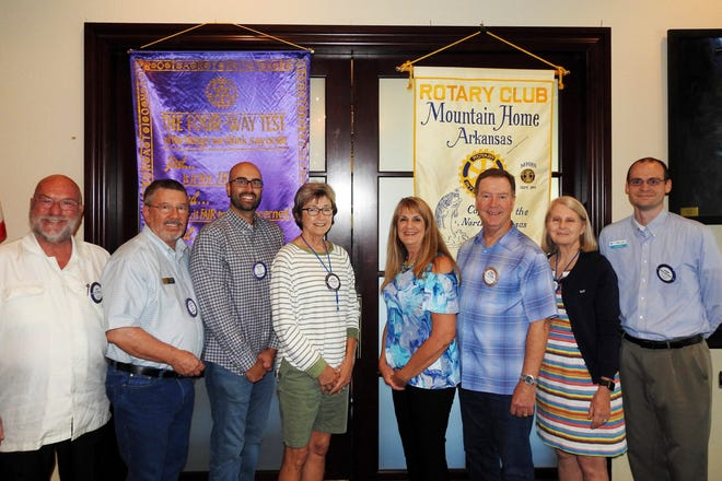 The Rotary Club of Mountain Home recently installed their new Board of Directors and Officers for 2019-2020. Pictured are: (from left) Scott Sillence, John Schaub, Wes Wood, President-Elect Renae Schocke, President Kriss Yunker, Past-President Mark Hopper, Secretary Marilyn Loveless, and Treasurer Allen Moore.