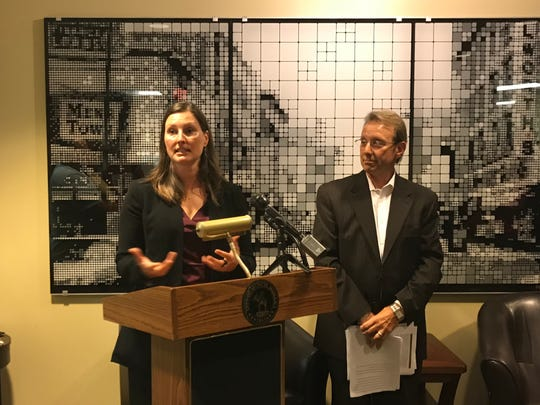 Meagan Quirk, attorney for the city of Muncie, speaks during a city hall press conference on Tuesday, Aug. 20, 2019, at which officials announced the end of the plan for a steel dust recycling facility in Muncie.