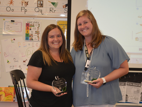 Courtney Crabtree (at left) and Sarah Hill have been awarded the Robert P. Bell Creative Teaching Award to recognize their innovation through collaboration in the classroom.