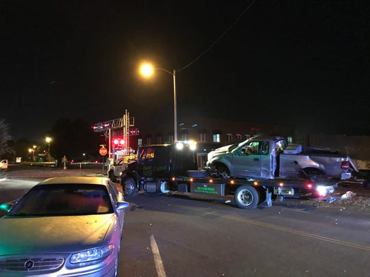 A truck hit by a train in Downtown Dickson early Tuesday morning.