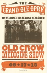 A poster for a 2013 Old Crow Medicine Show concert at the Ryman.