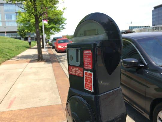 A parking meter in The Gulch in Nashville.