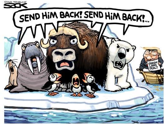 "Greenland animals say, ""Send him back."""
