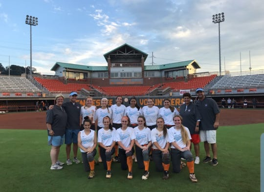 The Bergen Stars at the University of Tennesse. Top from, from left, Coach Caryn Schanstine, Coach Dan Rattacasa, Alli Olsen, Gabby Santora, Brooke Biamonte, Ashley Saab, Emily Sanabria, Kacie Centieno, Coach Helen Antzoulides, Coach Chris Caserta. Bottom row, Kristin Ardese, Samantha Settecasi, Brooke Rennar, Kiera Boucher, Lizzie Weston, Jordan Finelli.