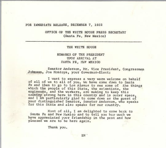 A copy of John F. Kennedy's remarks while visiting New Mexico in 1962.