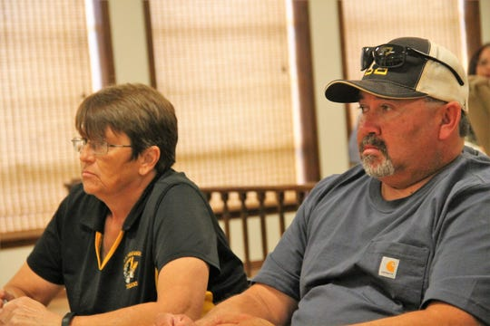 Alamogordo Public Schools Board of Education Vice President Angela Cadwallader, left, and Board Member David Borunda at an APS work session Aug. 19.
