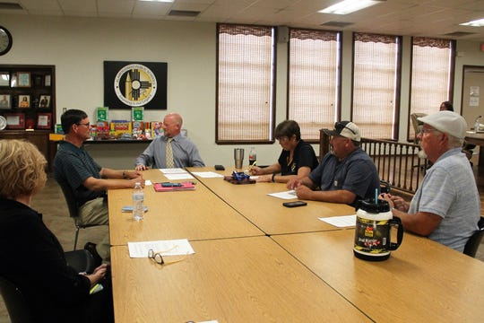 The Alamogordo Public Schools Board of Education held a workshop Aug. 19 to discuss their option in how to fill a school board vacancy. From left, APS Deputy Superintendent Cara Malone, APS Board President Timothy Wolfe, APS Superintendent Jerrett Perry, APS Board Vice President Angela Cadwallader, APS Board Member David Borunda and APS Board Member David Weaver.