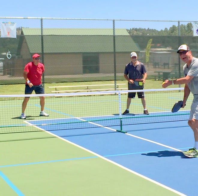 Pickleball players practice their skills for the tournament Sept. 22-25, at White Mountain Sports Fields off Hull road in Ruidoso.