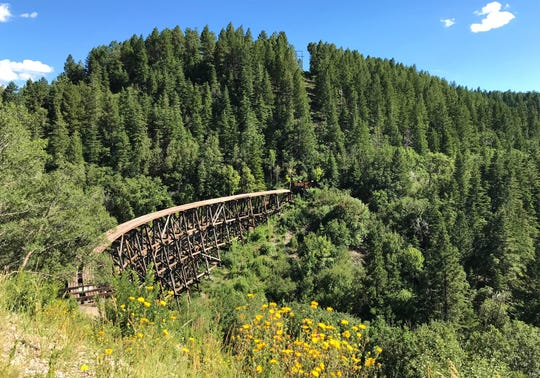 The old Mexican Railroad bridge in Cloudcroft, New Mexico. The trestle was once a part of the Alamogordo and Sacramento Railway.