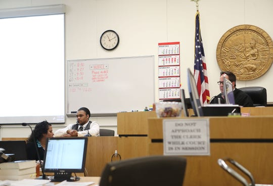 Rafael Aikens testifies during his trial where he stands accused of murdering two Twentynine Palms women in 2016 at theSan Bernardino County Superior Court in Joshua Tree, August 20, 2019.