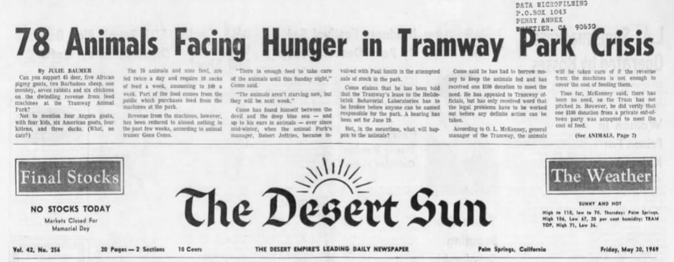 A May 30, 1969 headline in The Desert Sun warned of animal hunger crisis at the Tramway Animal Park