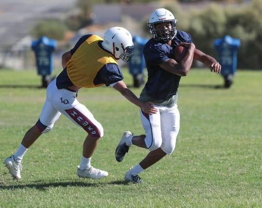 The La Quinta High School football team practices in La Quinta, August 19, 2019.