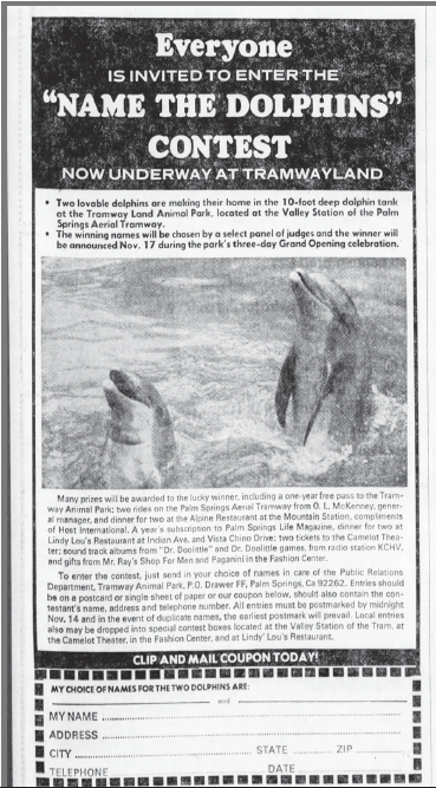 "The Tramway's ""Dolphin Naming Contest"" form appeared in the Nov. 8, 1968 San Bernardino Sun."