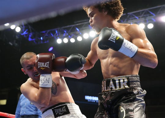 Blair Cobbs throws a punch earlier this year against Robert Redmond Jr. at Fantasy Springs Resort Casino in Indio, Calif.