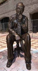 A new bronze statue honoring J. Earle Bowden, Pensacola News Journal editor emeritus, is now on display at Southtowne in downtown Pensacola.