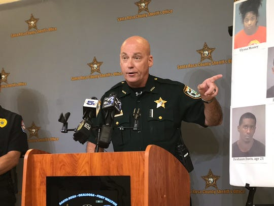Santa Rosa County Sheriff Bob Johnson speaks at an Aug. 20 press conference at SRSO headquarters.
