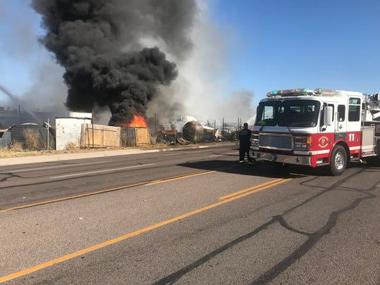 Phoenix fire crews responded to a fire at a scrapyard near 27th Avenue and Palm Lane Monday afternoon.