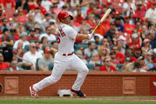 Cardinals first baseman Paul Goldschmidt hits a two-run home run against the Pirates during the first inning of a game Aug. 11 at Busch Stadium.