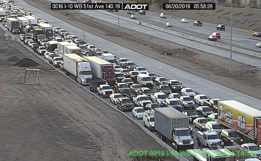 Traffic was backed up on Interstate 10 on Aug. 20, 2019 due to a closure at 51st Avenue.