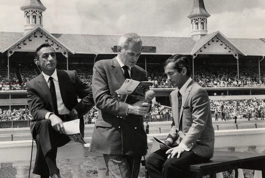 Eddie Arcaro (from left), Jack Whitaker, and Bill Shoemaker are seen at work for telecast of the Kentucky Derby at Churchill Downs in 1968.