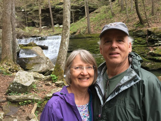 Michael Byrd with his wife, Rachel, hiking in Tennessee.