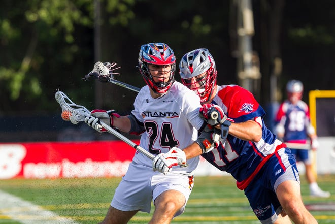 Brendan Sunday, No. 24, plays for the Atlanta Blaze of Major League Lacrosse. Here, he's photographed while playing against the Boston Cannons in July.