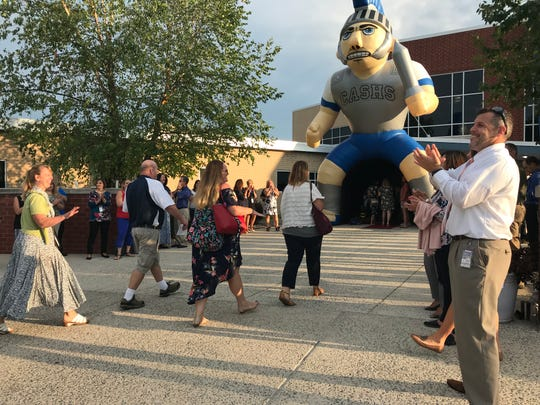 Teachers and staff broke out in some dance moves as they made their way into Chambersburg Area Senior High School for the first official day of school on Aug. 19, 2019.
