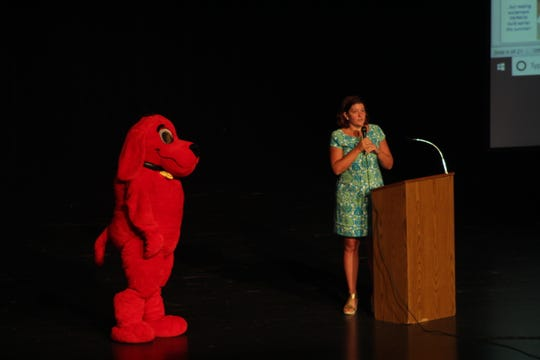 Clifford the Big Red Dog made an appearance at Chambersburg Area Senior High School for the first official day of school on Aug. 19, 2019 during a presentation for CASD Foundation's campaign #Leap4Literacy.