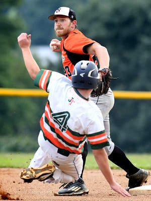 Jefferson's Dylan Shaffer is forced out at second base by Stoverstown's Levi Krause last August during Central League playoff action. The Central League is set to open its delayed 2020 season on June 20.