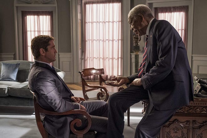 "Morgan Freeman and Gerard Butler star in ""Angel Has Fallen."" The movie opens Thursday at Regal West Manchester, Frank Theatres Queensgate Stadium 13 and R/C Hanover Movies."