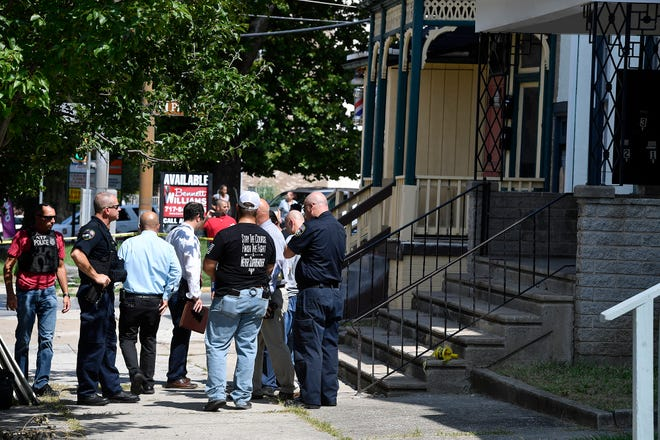 York City Police investigate a shooting on E. Philadelphia Street at N. Pine, Tuesday, August 20, 2019. 