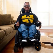 Sam McKoy-Johnson has a brittle bone disease known as osteogenesis imperfecta, which causes his bones to break very easily. He's confined to a wheelchair, but is still pursuing an acting career, August 9, 2019.