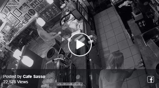 Café Sasso, 739 Park Ave., posted a video to Facebook of someone stealing its tip jar